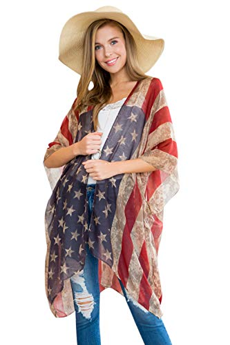 American Flag Print Cardigan - July 4th USA Star & Stripe Patriotic Lightweight Shawl Open Kimono Cardi/Vest Cover (Kimono Cardi - Rustic Flag)
