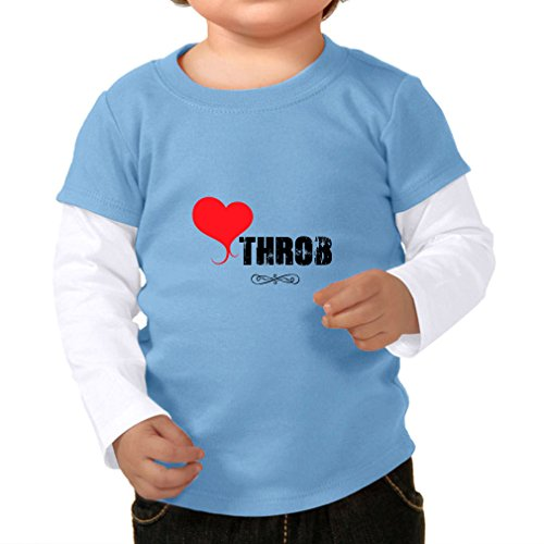 Twofer Girls Top (Heart Throb Valentine Infants Two-fer Long Sleeve Tee Top Blue White 24 Months)