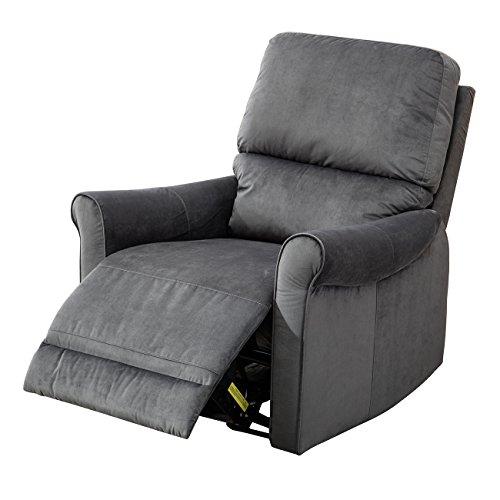 BONZY Glider Recliner Modern Roll Arm Recliner Chair - Blue - Blue Fabric Recliner