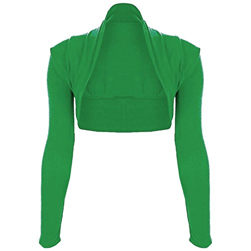 Oops Outlet Women's Plain Long Sleeve Open Bolero Cropped Cardigan Shrug Top M/L (US 8/10) Jade - Oops Outlet