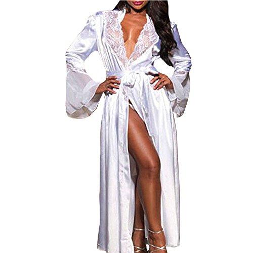 GLVSZ Women Long Silk Kimono Dressing Gown Babydoll Lace Lingerie Bath Robe White -