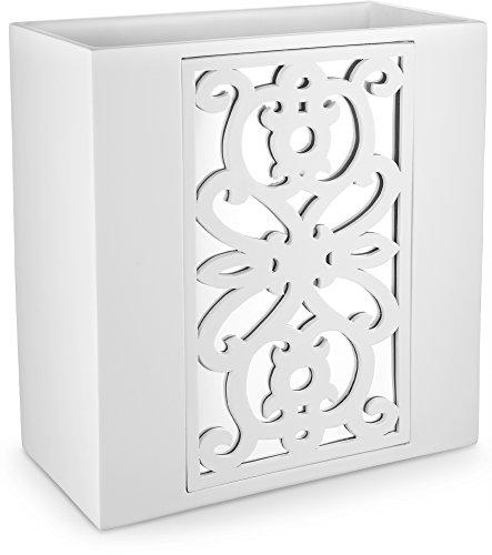 "DWELLZA Mirror Janette Bathroom Trash Can (10.63"" x 5.71"" x 11"") Decorative Wastebasket- Resin Waste Paper Baskets Design- Space Friendly Bath Rubbish Trash Can (White)"