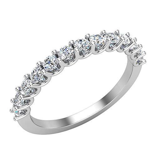Wedding Rings Diamond Ring 18K White Gold Anniversary Gifts for her 0.50 carat tw (G, VS) (Ring Size 6)