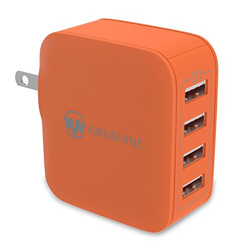 - iPhone Charger, Smart Multi-Port USB Travel Wall Charger by Wanshine, 31W/6.2A - 4 Port, Compatible with iPhone X/8/7, Samsung Galaxy S9/S8/S7, Orange