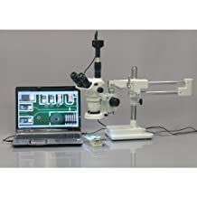 AmScope ZM-4TN3-80S-M Digital Professional Trinocular Stereo Zoom Microscope, EW10x Focusing Eyepieces, 2X-45X Magnification, 0.67X-4.5X Zoom Objective, 80-Bulb LED Ring Light, Double-Arm Boom Stand, 90V-265V, Includes 0.3X Barlow Lens, 1.3MP Camera with Reduction Lens, and Software