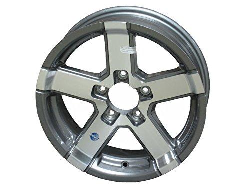 HWT 724545 12X4 5/4.5 Aluminum Series07 Trailer Wheel - Gray Accent