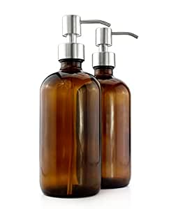 Cornucopia Brands 16-Ounce Amber Glass Bottles w/Stainless Steel Pumps (2-Pack); Lotion & Soap Dispenser Brown Boston Round Bottles for Aromatherapy, DIY, Home & Kitchen
