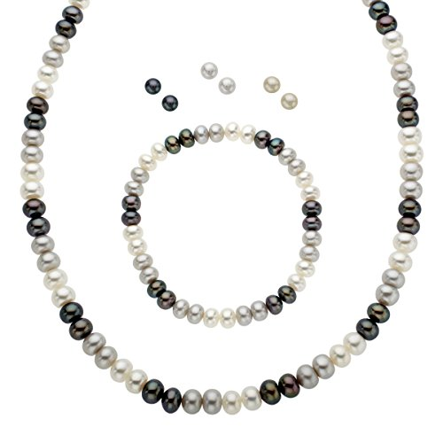 Honora Black, White & Grey Freshwater Cultured Pearl Set in Sterling Silver