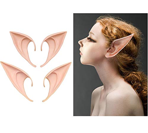 AOBOR Fairy Pixie Soft Elf Ears Cosplay Accessories Halloween Party Pointed Prosthetic Tips Ear (2 Pairs) ()