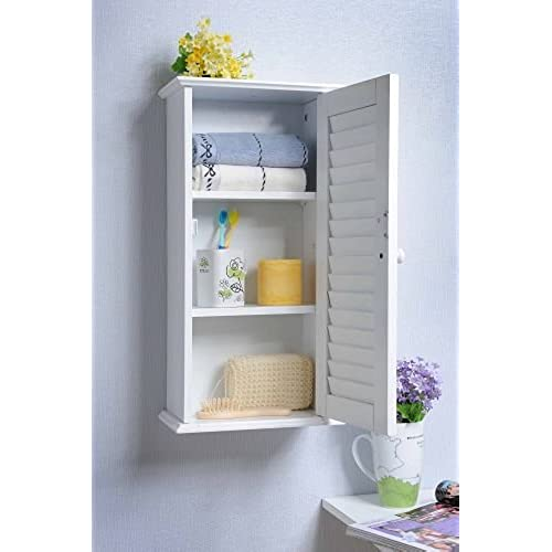 Ordinaire Homecharm Intl 13.8x5.9x21.6 Inch Wall Storage Cabinet,Louvered  Door,White(HC 057)