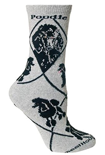 Wheelhouse Black Poodle on Gray Lightweight Stretch Cotton Crew Sock Adult Unisex Size 10-13