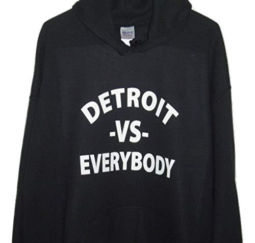 GILDAN Detroit -Vs- Everybody Pull Over Hoodie Black All Sizes (4XL, Black)