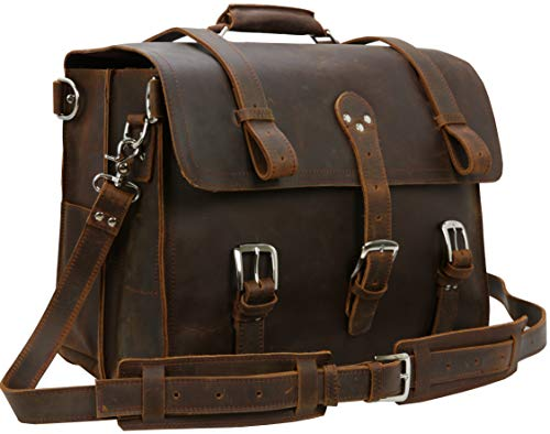 Iswee Retro Full Grain Crazy Horse Leather Mens Multi-Functional Bag Briefcase Laptop Messenger Bags Business Tote Shoulder Bag Backpack Casual Daypack for Man fit in 17in Laptop (Dark Brown)