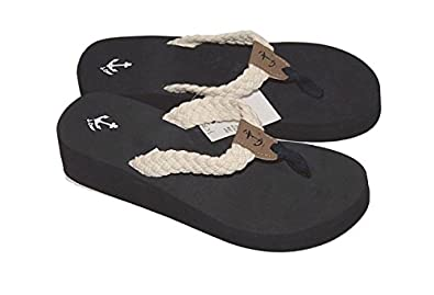 48ee81937149 J Crew Factory - Women s - Canvas Off-White Braided Rope Wedge Flip Flop  Sandals
