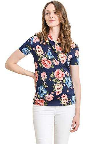 (LaClef Women's Short Sleeve Surplice Maternity Nursing Top (Navy/Pink Floral, L) )