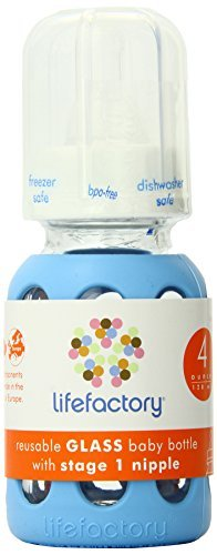 Lifefactory 4-Ounce Glass Baby Bottle with Silicone Sleeve and Stage 1 Nipple, Sky Blue by Lifefactory