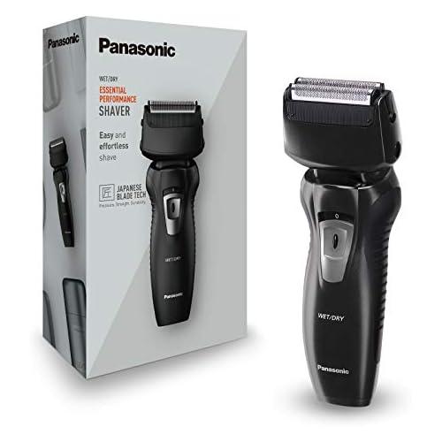 chollos oferta descuentos barato Panasonic ES RW31 K503 Afeitadora y recortadora para hombre 2 en 1 hojas precisión nanométrica cabezal giratorio flexible lavable hojas dobles luz de carga negro