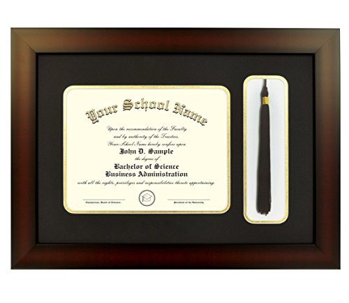 Mahogany Finish Infinity Diploma Frame with Tassel Box Black and Gold Mats by Celebration Frames (fits 16 x 20 document)