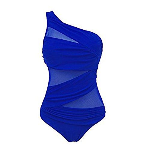 FeelinGirl Da Fiore Costumi Stile Imbottito Set Bikini Bagno Sexy Obliquo Blu Monokini Donne rqn0Ur