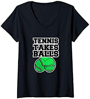 [Featured] Womens Tennis Takes Balls Funny Tennis Lovers Tennis Players V-Neck in ALL styles | Size S - 5XL