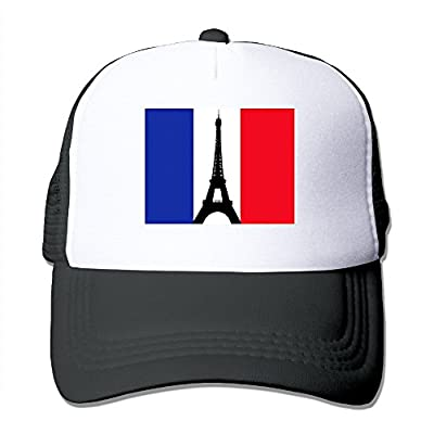 Uzhongquux French Flag With The Eiffel Tower Summer Mesh Cap With Adjustable Snapback Strap Black
