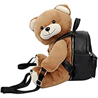 Sweet Spring Water Cute Plush Bear Backpack School Bag PU Travel Outdoor Rucksack for Girls