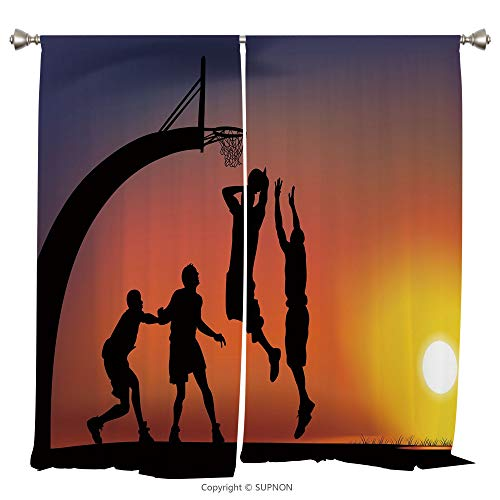 Rod Pocket Curtain Panel Thermal Insulated Blackout Curtains for Bedroom Living Room Dorm Kitchen Cafe/2 Curtain Panels/84 x 84 Inch/Teen Room Decor,Boys Playing Basketball at Sunset Horizon Sky Drama from YOLIYANA