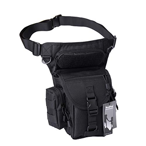 BondFree Military Drop Leg Pouch Tactical Leg Bag Tools Bags Purse Bum Bag Fanny Pack Thigh Bags Hip Bag Bike Cycling Hiking Bag (Black)