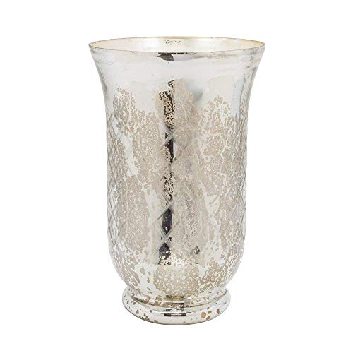 (Serene Spaces Living Antique Silver Etched Hurricane - Handmade, Vintage-Inspired Mercury Glass Vase Adds Elegance to Any Space - Use for Home Décor, Event Centerpieces and Much More, 12