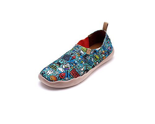 Uin Mens Cartoon World Painted Canvas Shoe Green