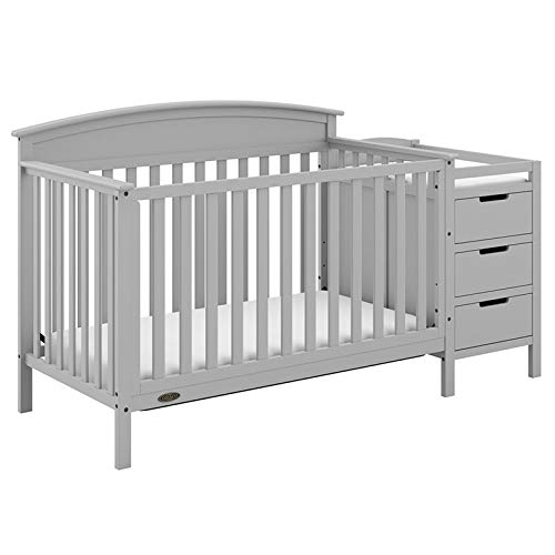 Graco Benton 4-in-1 Convertible Crib and Changer (Pebble Gray) - Attached Changing Table with Water-Resistant Changing Pad, Space-Saving Storage with 3 Drawers and 3 Open Shelves