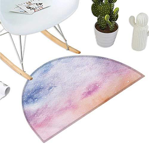 Navy and Blush Semicircular Cushion Abstract Watercolors Artistic Fantasy Soft Nebula Universe Inspired Entry Door Mat H 51.1