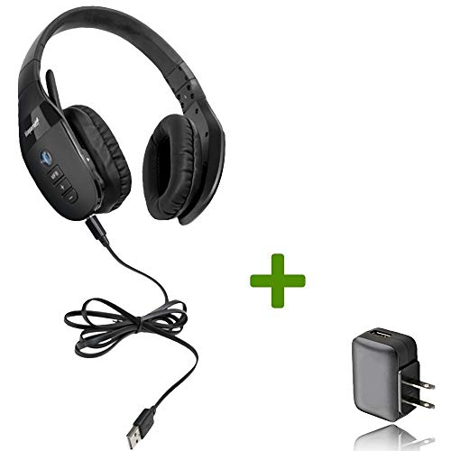 VXI BlueParrott S450-XT Bluetooth/NFC Stereo Mic Headphones Bundle - Bonus Wall Charger | Compatible for Streaming Music, MAC, Windows, Android Phone, Tablet, iOS iPhone, iPad, BlackBerry | ()