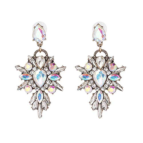 - Elleda Jewelry Vintage Boho Crystal Baroque Bohemian Large Long Starburst Drop Statement Earrings for Women Girls (Clear)