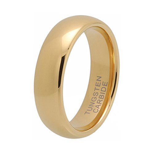 iTungsten 6mm 8mm Gold Tungsten Carbide Rings for Men Women Wedding Bands Domed Comfort Fit ()