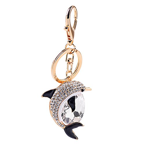 Aland Lovely Dolphin Pendant Rhinestone Hanging Keychain Ring Bag Purse Wallet Decor - Ring White Dolphins