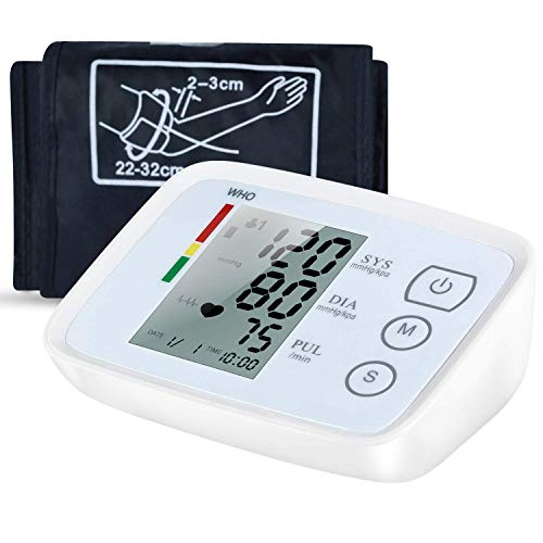 Monitor Blood Inflate Pressure (Blood Pressure Monitor, FDA Approved Upper Arm Blood Pressure Monitor Accurate Automatic BP Machine Heart Rate Meter Dual User& 99 Sets Memory with Large Display Screen Voice Prompt for Home Use)