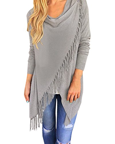 StyleDome Women's Tassels Long Sleeve Cowl Neck Shirt Blouse Tops Cardigan Light Gray US 18