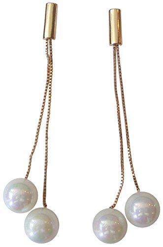 Kenneth Jay Lane Double Chain/White Pearl Drop Earring - Kenneth Lane Faux Earrings