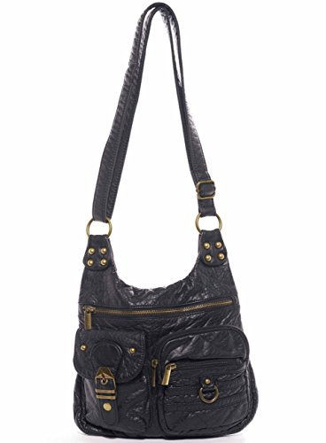 The Aria Crossbody Handbag Hobo Tote Soft Vegan Leather by Ampere Creations (Black)