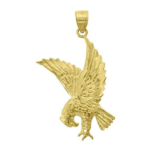 14kt Gold Mens Diamond Cut Eagle Bird Height 36.5mm Pendant Charm 14kt Gold Diamond Cut Charm