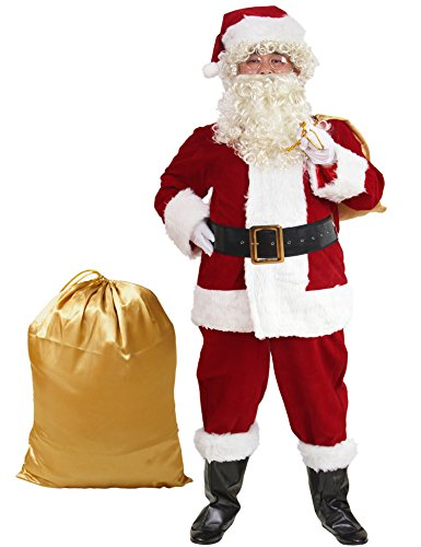 Plush Santa Claus Suit Adult Costumes (ADOMI Santa Suit 10pc. Plush Adult Costume Red XL)