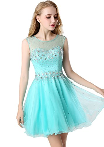ff913f34786 Belle House Women s Short Tulle Beading Homecoming Dress Prom Gown ...