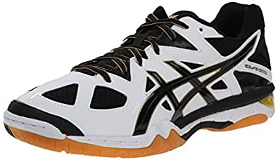 ASICS Men's Gel-Tactic Volleyball Shoe, White/Black/Pale Gold, 6 M US