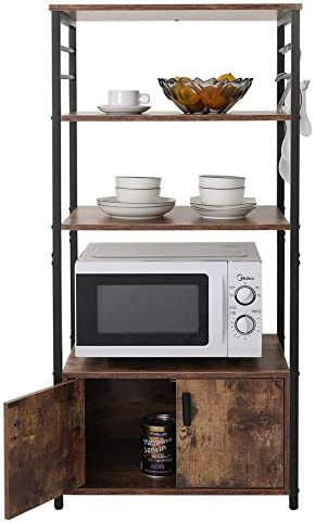 Iwell Kitchen Baker s Rack with 1 Cabinet and 8 Hooks, 4-Tier Utility Storage Shelf, Microwave Oven Stand, Industrial Storage Cabinet, Bookshelf for Living Room, Bathroom Cabinet ZWJ004F