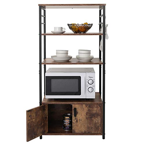 Iwell Kitchen Baker's Rack with 1 Cabinet and 8 Hooks, 4-Tier Utility Storage Shelf, Microwave Oven Stand, Industrial Storage Cabinet, Bookshelf for Living Room, Office, Bathroom Cabinet ZWJ004F (Rack Kitchen Bakers)