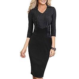 HOMEYEE Women's Vintage 3/4 Sleeve V Neck Stripe Ruched Business Dress B479