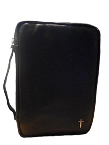 Genuine Leather Bible Cover - L - Black