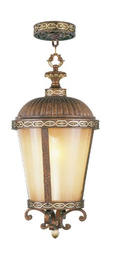 Livex Lighting 8637-64 Seville 1 Light Outdoor Chain Hang in Palacial Bronze with Gilded Accents