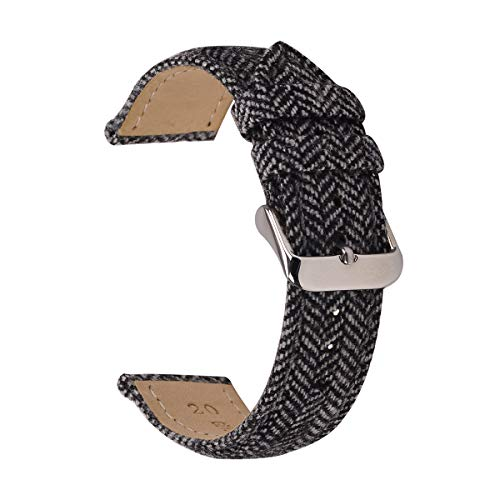 Tweed Watch Straps,EACHE Herringbone Watch Bands with Leather Lining for Women Men in Black 22mm